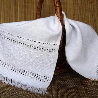 Пасхальный рушник салфетка белым по белому с мережками, на корзинку