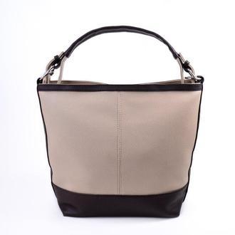 Женская сумка из кожзама Беж+коричневый