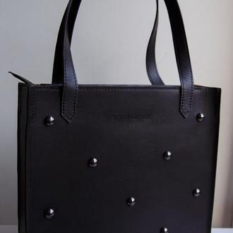 Черная кожаная сумка, эксклюзив!!!