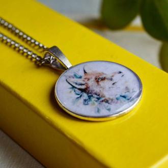 """Кулон """"Лиса"""", подвеска с изображением лисы, из эпоксидной смолы,ручная работа, подарок для девушки"""