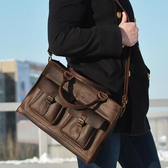 Мужской кожаный портфель, сумка для макбука коричневая