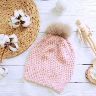 Вязаная шапка Aitin из мериноса с ангорой нежно-розового цвета