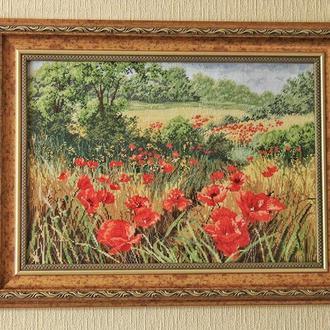 """Вышитая картина """"Маковое поле"""" 60*46 см"""