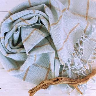 Тканый палантин Небесный меринос/альпака  ткачество