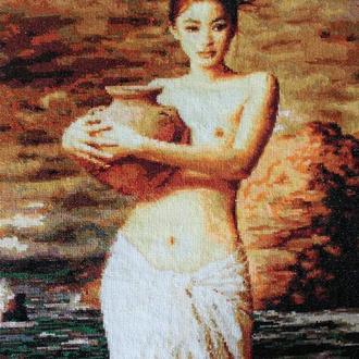 """Вышитая картина """"Женский образ"""" от Xie Chuyu 60*74 см"""