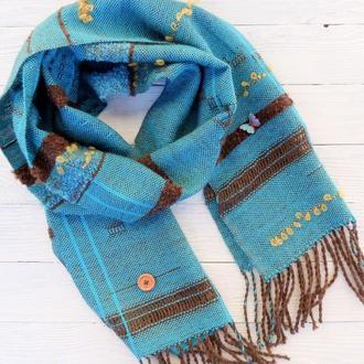Тканый шарф Bohemia (бирюза) меринос/альпака/шерсть