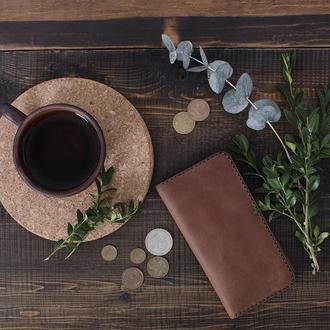 Кожаный клатч, портмоне. Светло-коричневый (коньяк),  Vintage