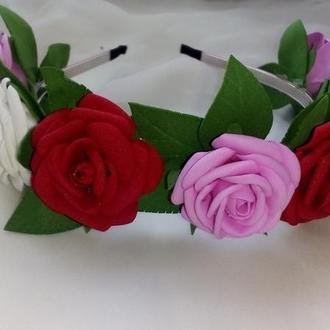 Обруч розы из фоамирана