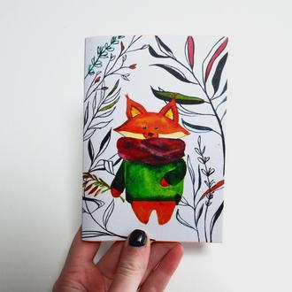 Авторский блокнот с ярко-оранжевыми страницами. Лис. Формат А6. Оригинальный подарок