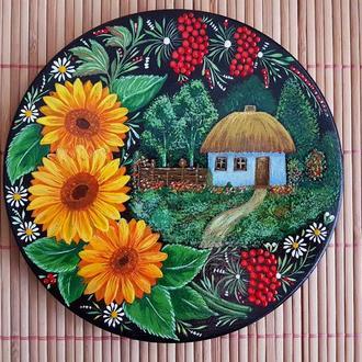"""Декоративная деревянная тарелка """"Подсолнух"""" 18см. авторская  работа, в технике Петриковская роспись."""