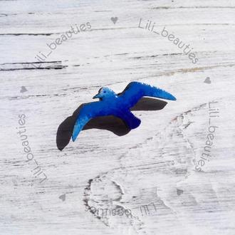 """Брошка """"Синяя птица"""" / брошь украшение прикраса"""