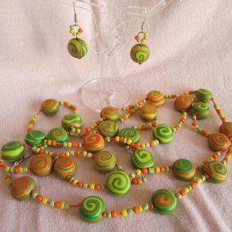 Комплект украшений салатно-зелено-оранжево-золотых  цветах