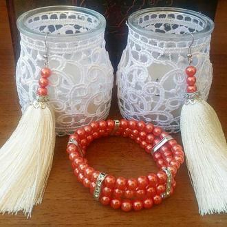 Набор серьги-кисти и браслет