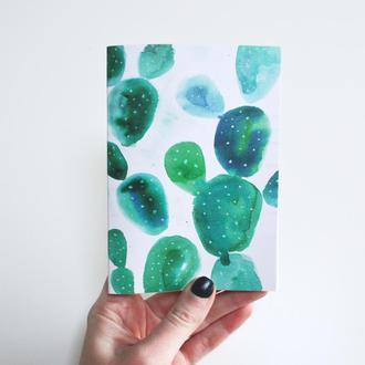 Авторский блокнот Кактусы. Нежно-зеленые страницы. Формат А6