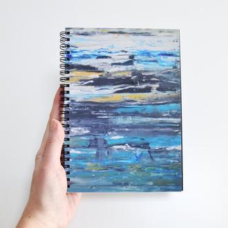 Скетчбук черные страницы и белая ручка. Авторская иллюстрация Океан