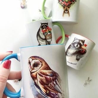 Чашка с авторским принтом «Сова»