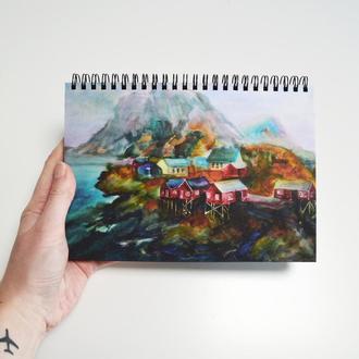 Скетчбук черные страницы и белая ручка. Авторская иллюстрация Исландия. Формат А5