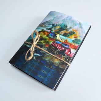 Блокнот  черные страницы и белая ручка. Авторская иллюстрация Исландия. Формат А6