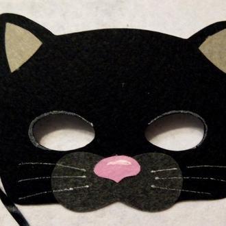 Маска черного котенка