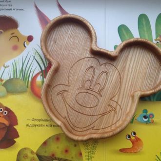 Детская деревянная тарелка в виде Микки
