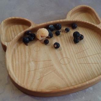 Детская деревянная тарелка в виде котика