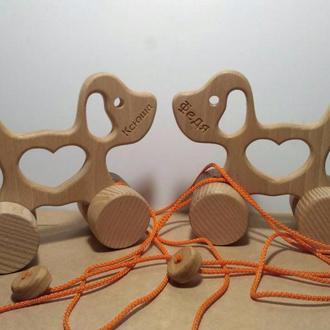 Деревянная игрушка каталка Собачка