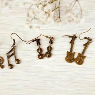 Набор сережек для музыкантов 3 пары серьги гитары скрипичный ключ скрипка