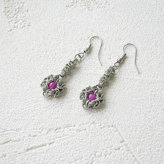 Оригинальные серьги подвески цепочки с цветочками. Chainmaille