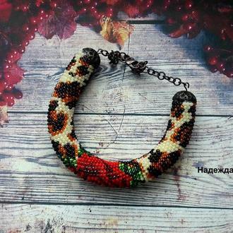 Авторское украшение из бисера жгут-браслет Тигровая роза