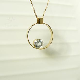 Круглый золотой кулон гелиос с белым топазом Helium (He)