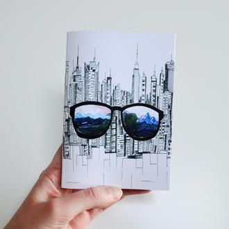 """Блокнот А6 с черными страницами и белая ручка. Авторская иллюстрация """"Мечтатель"""""""