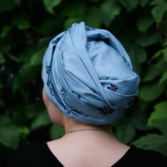 Платок на голову с растительным рисунком