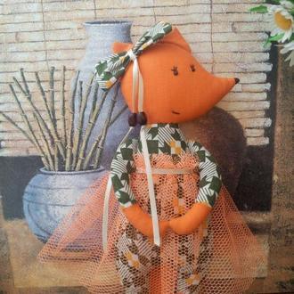 Лисичка, текстильная игрушка, интерьерная игрушка, ручная работа