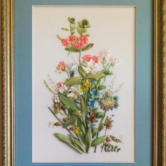 """Картина """"Квіти"""" вишита шовковими стрічками в рамі з паспарту"""