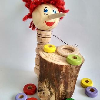 """Развивающая игрушка Буратино -""""поймай кольцо"""""""