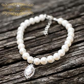 Браслет з натуральних перлів і срібла 925 проби