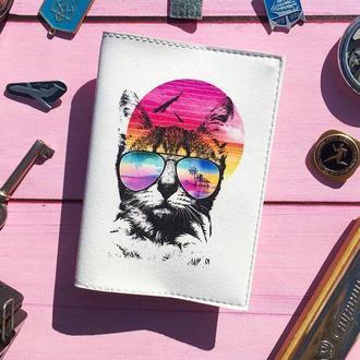 Обложка для паспорта с летним котом