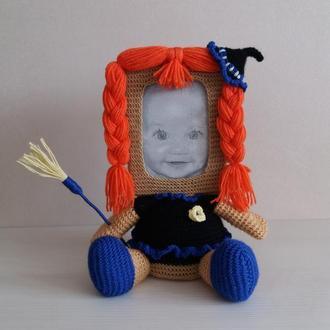 Девочка Ведьмочка Фоторамка Мягкая игрушка Оригинальный новогодний   подарок Декор