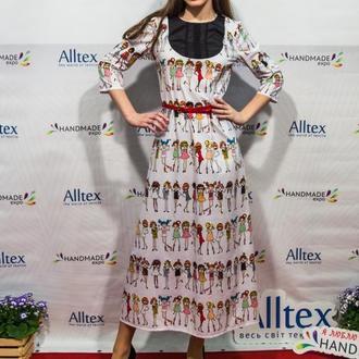 Платье с куклами в стиле ретро
