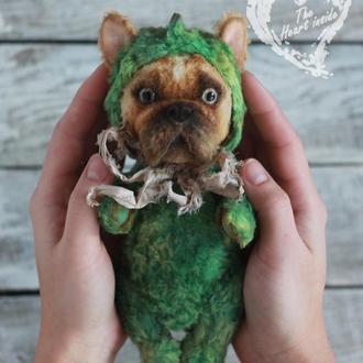 Авторская тедди собака дракошка- французкий бульдожка