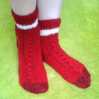 Носки 24см красные вязаные,тёплые