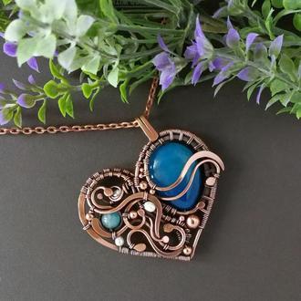 """Медный кулон """"Сердце"""" с синим агатом, аквамарином и жемчугом. Подарок на медную свадьбу. Wire wrap"""