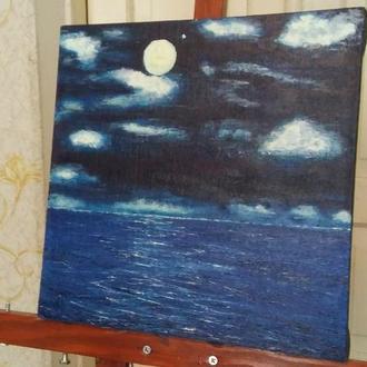 Місяць і море. Масло, лляне полотно, мастихін.