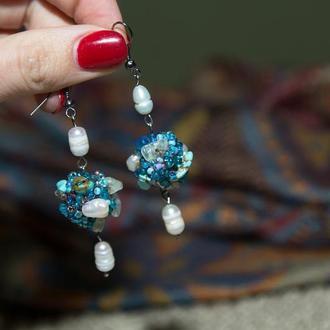 """Сережки """"Морський бриз"""" з натуральним камінням"""