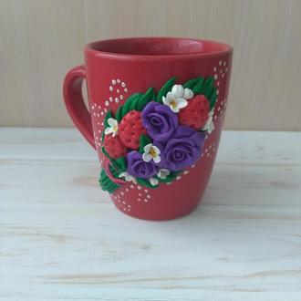 Чашка з цветами, чашка с надписью, чашка с поздравлением,прикольная чашка