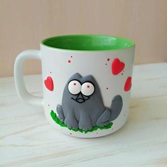 Закоханий котик, влюбленный кот, чашка с цытатой, чашка с надписью,