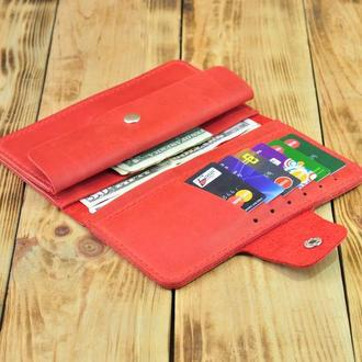 Красный кожаный кошелек для монет, денег и кредитных карт