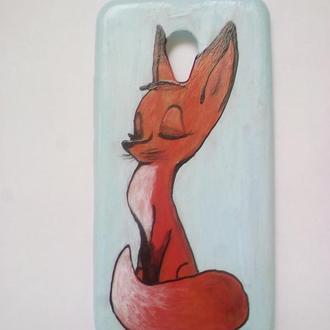 Чехол силиконовый для смартфона раскрашен акриловой краской