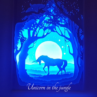 "Экономичный LED ночник papercut lightbox ""UNICORN IN THE JUNGLE"""