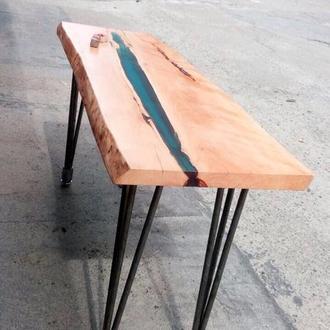 """Продан! Кофейный столик """"Река"""" -дерево, слэб, эпоксидная смола, Live edge, ножки металл(Hairpin)."""